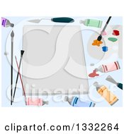 Poster, Art Print Of Bank Canvas With Artist Paints And Tools