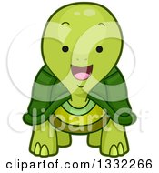 Clipart Of A Cute Happy Tortoise Royalty Free Vector Illustration
