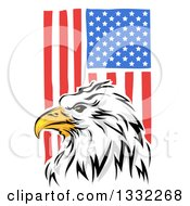 Clipart Of A Painted Bald Eagle Head Over A Vertical American Flag Royalty Free Vector Illustration