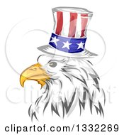 Clipart Of A Painted Bald Eagle Head Wearing An American Top Hat Royalty Free Vector Illustration