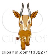 Clipart Of A Cute Gazelle Walking Forward Royalty Free Vector Illustration