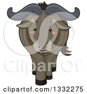 Clipart Of A Cute Happy Wildebeest Royalty Free Vector Illustration