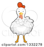 Clipart Of A Cute White Hen Facing Front Royalty Free Vector Illustration