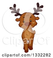 Clipart Of A Cute Reindeer Walking Royalty Free Vector Illustration by BNP Design Studio