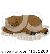 Clipart Of A Brown Bear Hibernating Royalty Free Vector Illustration by BNP Design Studio