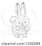 Clipart Of A White Bunny Rabbit Leaping Royalty Free Vector Illustration