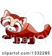 Clipart Of A Cute Red Panda Royalty Free Vector Illustration