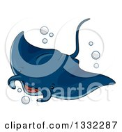 Clipart Of A Cute Manta Ray Swimming Royalty Free Vector Illustration