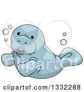Clipart Of A Cute Manatee Swimming Royalty Free Vector Illustration