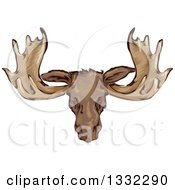 Clipart Of A Mounted Moose Head Royalty Free Vector Illustration