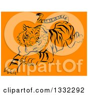 Clipart Of A Pouncing Black Stencil Tiger On Orange Royalty Free Vector Illustration