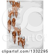 Clipart Of A Herd Of Migrating Antelope Over Snow Royalty Free Vector Illustration
