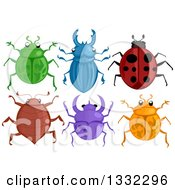 Clipart Of Colorful Beetles Royalty Free Vector Illustration by BNP Design Studio