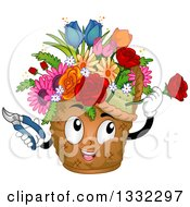 Clipart Of A Cartoon Basket Mascot Arranging Flowers Royalty Free Vector Illustration