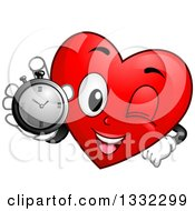 Clipart Of A Cartoon Red Love Heart Character Holding Up A Stop Watch Royalty Free Vector Illustration by BNP Design Studio