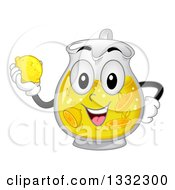 Cartoon Pitcher Character With Lemonade Holding A Lemon