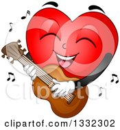 Clipart Of A Cartoon Red Love Heart Mascot Playing A Guitar Royalty Free Vector Illustration