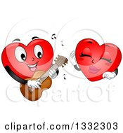 Clipart Of A Cartoon Red Love Heart Mascot Playing A Guitar And Romancing A Female Royalty Free Vector Illustration