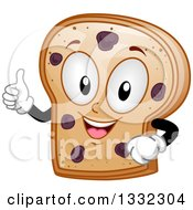 Clipart Of A Cartoon Raisin Bread Slice Character Giving A Thumb Up Royalty Free Vector Illustration by BNP Design Studio