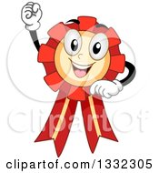 Clipart Of A Cartoon Award Ribbon Character Cheering With A Fist Royalty Free Vector Illustration