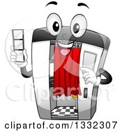 Clipart Of A Cartoon Happy Photo Booth Character Holding A Film Strip Royalty Free Vector Illustration