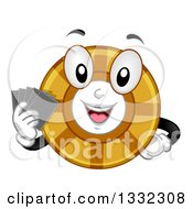 Cartoon Poker Chip Character Holding Cards