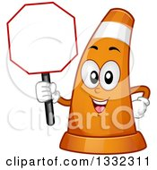 Clipart Of A Cartoon Traffic Cone Character Holding A Blank Stop Sign Royalty Free Vector Illustration by BNP Design Studio