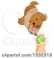 Clipart Of A Boys Hand Holding A Tennis Ball Over A Dog Royalty Free Vector Illustration