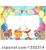 Clipart Of A Blank Sign Behind Cute Party Animals With Balloons Royalty Free Vector Illustration