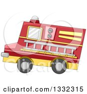 Clipart Of A Toy Fire Truck With A Ladder Royalty Free Vector Illustration by BNP Design Studio
