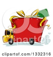 Clipart Of A Big Rig Truck With A Gift Box Body Royalty Free Vector Illustration