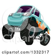 Clipart Of A Revving Monster Truck With Flames Painted On The Side Royalty Free Vector Illustration