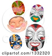 Clipart Of Chinese Face Masks Royalty Free Vector Illustration
