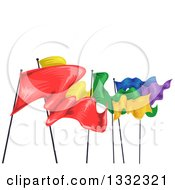 Clipart Of A Row Of Colorful Fluttering Flags Royalty Free Vector Illustration by BNP Design Studio