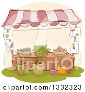 Sketched Farmers Market Stand With Plants And Produce