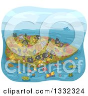 Clipart Of A Sketched Pile Of Garbage Floating In The Sea Royalty Free Vector Illustration