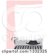 Clipart Of A Blank Piece Of Paper In A Typewriter Over Pink Royalty Free Vector Illustration by BNP Design Studio
