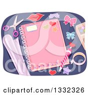 Personalized Pink Girly Notebook With A Pencil And Decorative Items