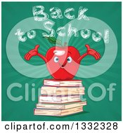 Clipart Of A Welcoming Red Apple Character On A Stack Of Books Against Back To School Chalk Text Over Rays On Green Royalty Free Vector Illustration