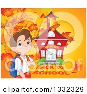 Clipart Of A Happy Caucasian Boy Grasping His Backpack Strap By A School House Against A Fall Background Royalty Free Vector Illustration