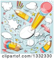 Clipart Of Comic Yellow Pencil And Balloon Designs On Blue Royalty Free Vector Illustration