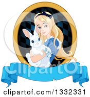 Clipart Of Alice In Wonderland Holding A Cute White Rabbit In A Frame Over A Blank Banner Royalty Free Vector Illustration by Pushkin