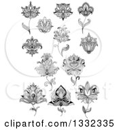 Clipart Of Black And White Henna And Lotus Flowers 17 Royalty Free Vector Illustration