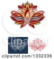 Clipart Of Beautiful Red White And Yellow Henna Lotus Flowers Royalty Free Vector Illustration