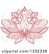 Clipart Of A Beautiful Red Henna Lotus Flower Royalty Free Vector Illustration