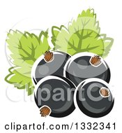 Clipart Of Cartoon Black Currant Berries And Leaves Royalty Free Vector Illustration