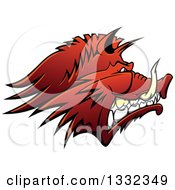 Clipart Of A Snarling Vicious Razorback Boar Mascot Head In Profile Royalty Free Vector Illustration