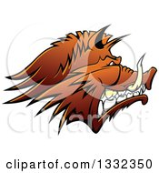 Brown Snarling Vicious Razorback Boar Mascot Head In Profile