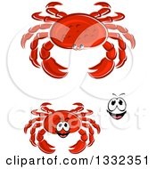 Clipart Of A Cartoon Face And Red Crabs Royalty Free Vector Illustration