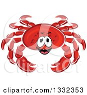 Clipart Of A Cartoon Red Crab 2 Royalty Free Vector Illustration